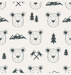 Seamless pattern with bear heads vector