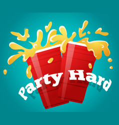 Two red party cups with a splashing beer cheers vector