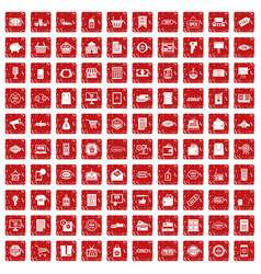 100 sale icons set grunge red vector image