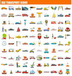 100 transport icon set flat style vector image