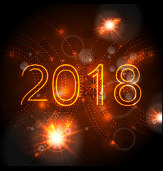 2018 glowing neon orange new year background vector image