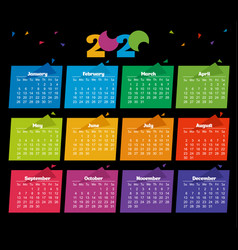 2020 calendar color modern design on black vector image
