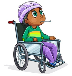 A Black man riding on a wheelchair vector