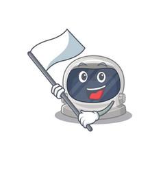 A nationalistic astronaut helmet mascot with flag vector