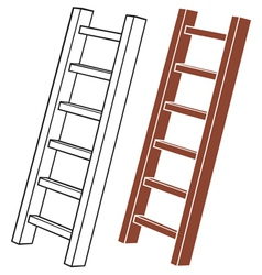 A wooden ladder vector