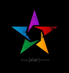 Abstract rainbow star with vintage effect on black vector image