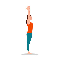 Arms up pose of yoga standing vector