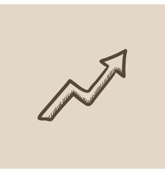 Arrow upward sketch icon vector