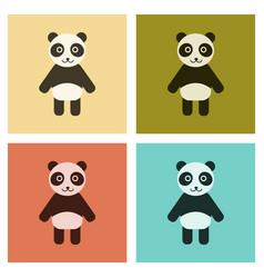 Assembly flat icons nature panda bear vector