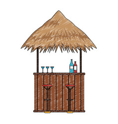 Bar beach kiosk scribble vector