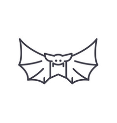bat line icon sign on vector image