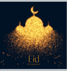 Beautiful glowing mosque made with sparkles vector
