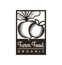 beet and apple sign - stylized farm emblem vector image