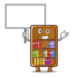 Bring board mascot bookcase beside the study desk vector