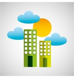 building clean environment sun and cloud vector image