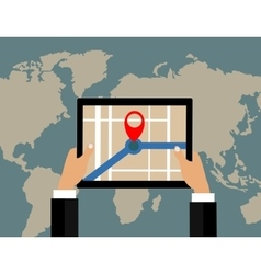Businessman holds tablet and world map with vector