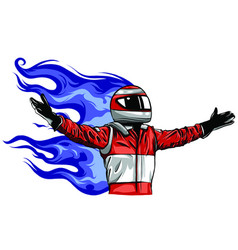 car racing man cartoon design vector image
