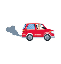 Car vehicle polluting isolated icon vector