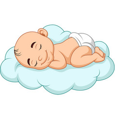cartoon baby sleeping on a cloud vector image