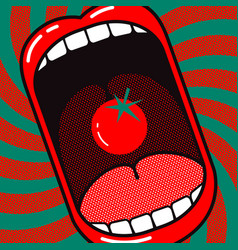 Cartoon large open mouth with tomato vector