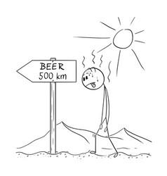 cartoon of man walking thirsty through desert and vector image