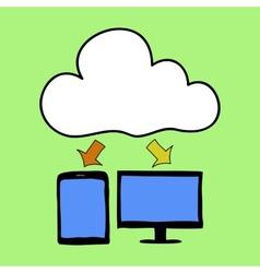 Cartoon style cloud computing vector image