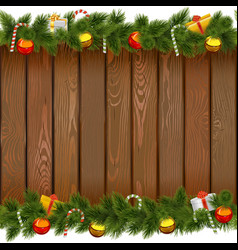 Christmas Border with Lollipop on Wooden Board vector