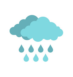 cloud with rain icon flat style vector image
