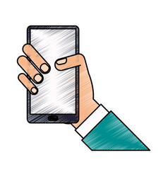 Color pencil hand holding smartphone device vector