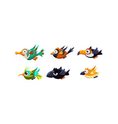 cute cartoon colorful flying birds set funny vector image