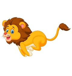 Cute lion cartoon running vector image