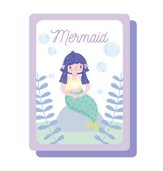 cute little mermaid with green tail sitting vector image