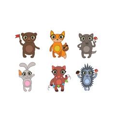 cute woodland animals set bear fox wolf hare vector image