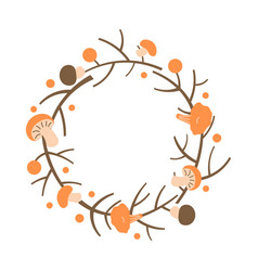 decorative autumn wreath frame made branches vector image
