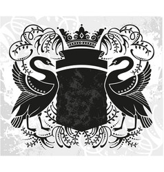 decorative frame with crown and swan vector image
