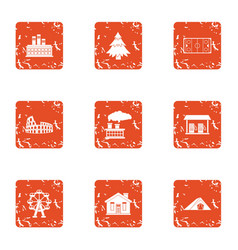 develop a house icons set grunge style vector image