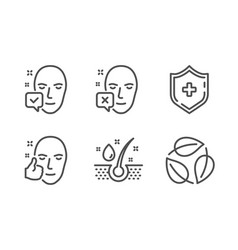 Face declined serum oil and face accepted icons vector