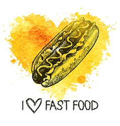 Fast food background with splash watercolor heart vector image