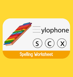 Find missing letter with xylophone vector