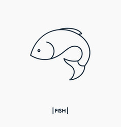 Fish outline icon vector