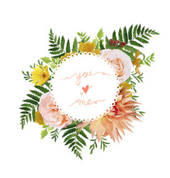 Flower airy wreath bouquet of pink garden rose vector