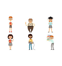 funny nerds and geeks cartoon characters vector image