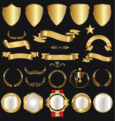Golden retro sale badges and labels collection 5 vector