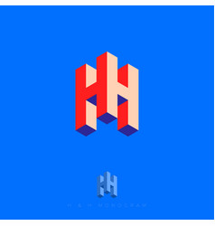 h letter cube logo box volume typographic composit vector image