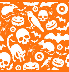 halloween symbols seamless orange pattern vector image