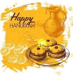 Hand drawn sketch Hanukkah background Israel vector
