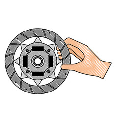 Hand with clutch plate engine part vector