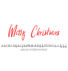 handwritten calligraphy elegant font and merry vector image