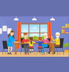 happy big family dining together grandparents vector image