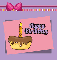 Happy birthday card with sweet cake vector